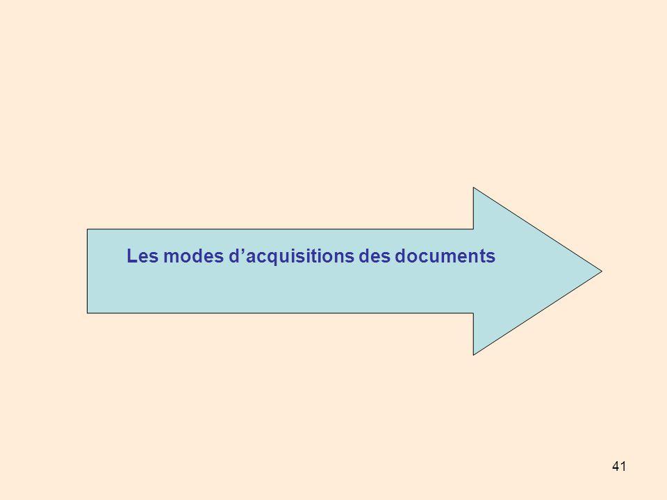 41 Les modes dacquisitions des documents