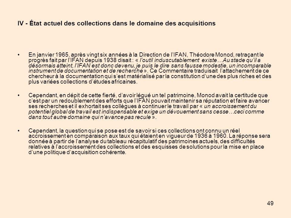 49 IV - État actuel des collections dans le domaine des acquisitions En janvier 1965, après vingt six années à la Direction de lIFAN, Théodore Monod,