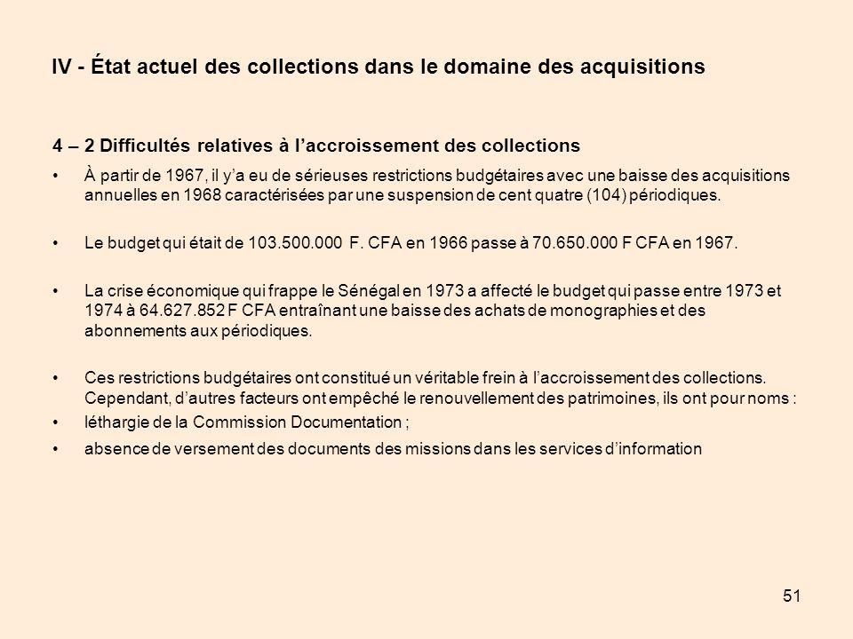 51 IV - État actuel des collections dans le domaine des acquisitions 4 – 2 Difficultés relatives à laccroissement des collections À partir de 1967, il
