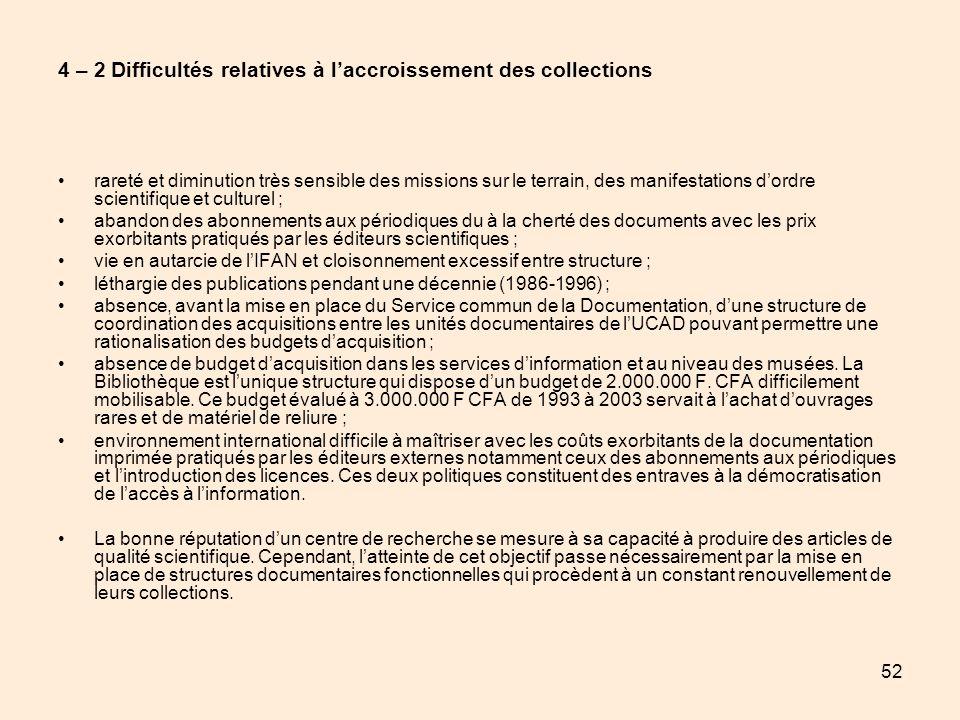 52 4 – 2 Difficultés relatives à laccroissement des collections rareté et diminution très sensible des missions sur le terrain, des manifestations dor