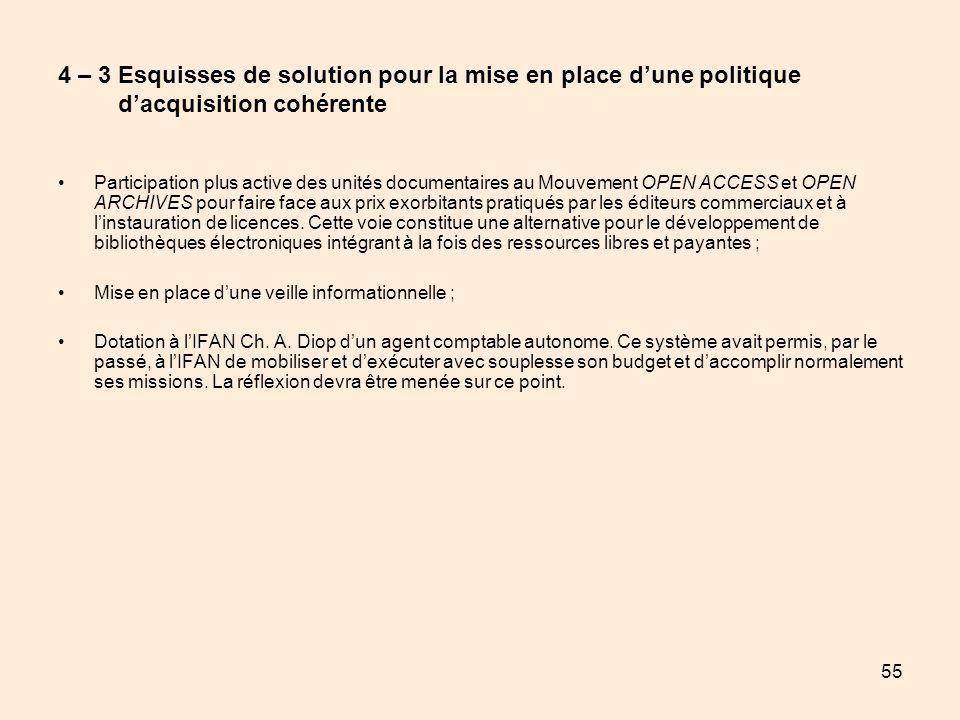 55 4 – 3 Esquisses de solution pour la mise en place dune politique dacquisition cohérente Participation plus active des unités documentaires au Mouve
