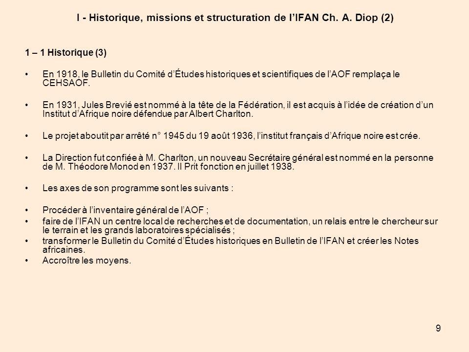 9 I - Historique, missions et structuration de lIFAN Ch. A. Diop (2) 1 – 1 Historique (3) En 1918, le Bulletin du Comité dÉtudes historiques et scient