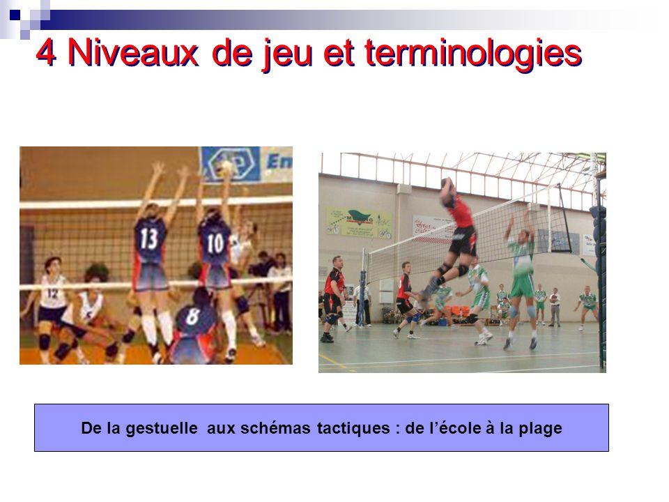 4 Niveaux de jeu et terminologies De la gestuelle aux schémas tactiques : de lécole à la plage