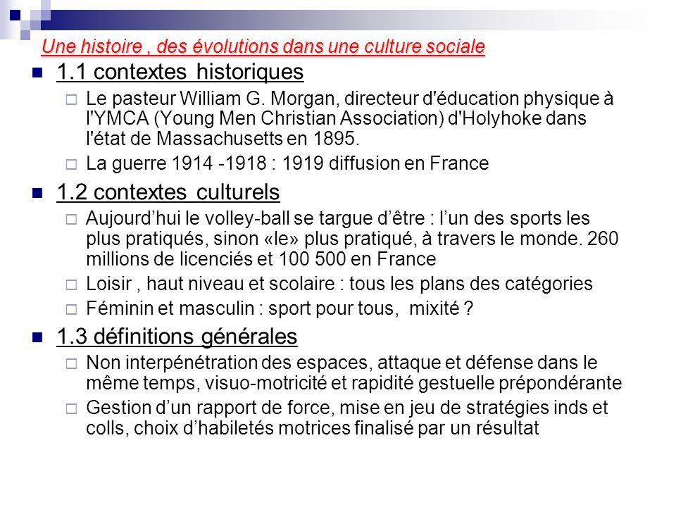 Une histoire, des évolutions dans une culture sociale 1.1 contextes historiques Le pasteur William G. Morgan, directeur d'éducation physique à l'YMCA