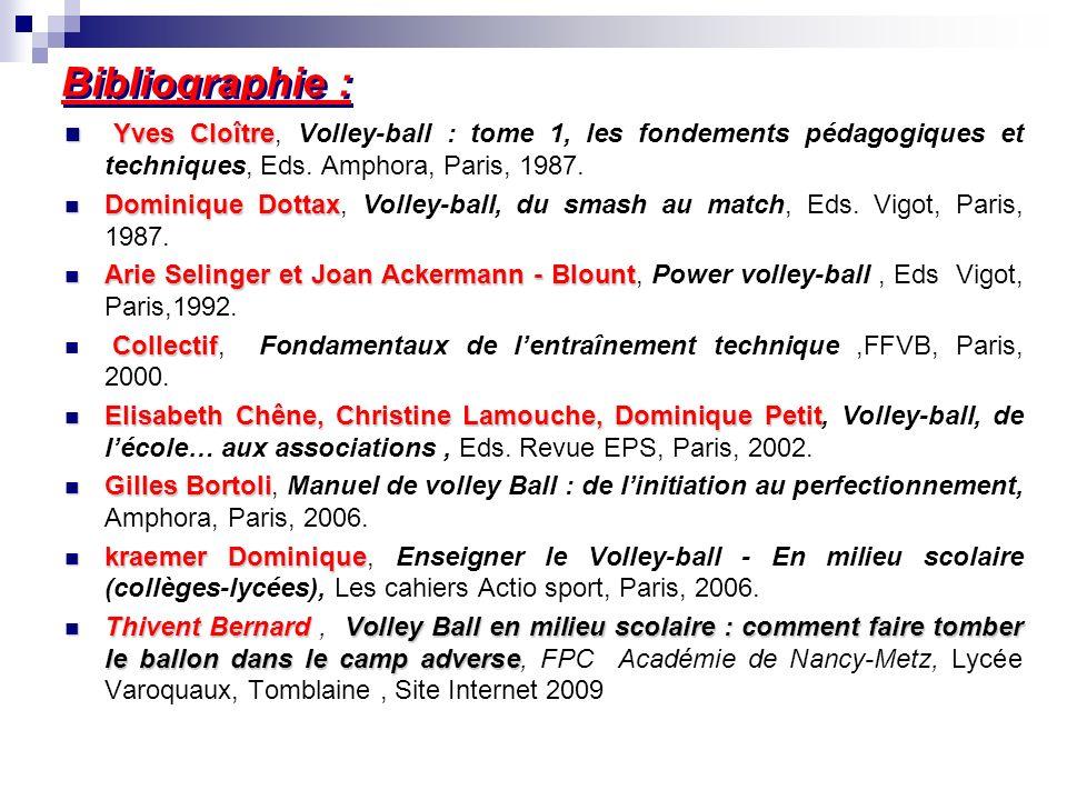 Bibliographie : Yves Cloître Yves Cloître, Volley-ball : tome 1, les fondements pédagogiques et techniques, Eds. Amphora, Paris, 1987. Dominique Dotta