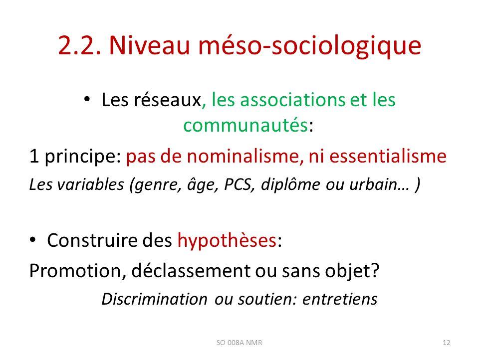 2.2. Niveau méso-sociologique Les réseaux, les associations et les communautés: 1 principe: pas de nominalisme, ni essentialisme Les variables (genre,