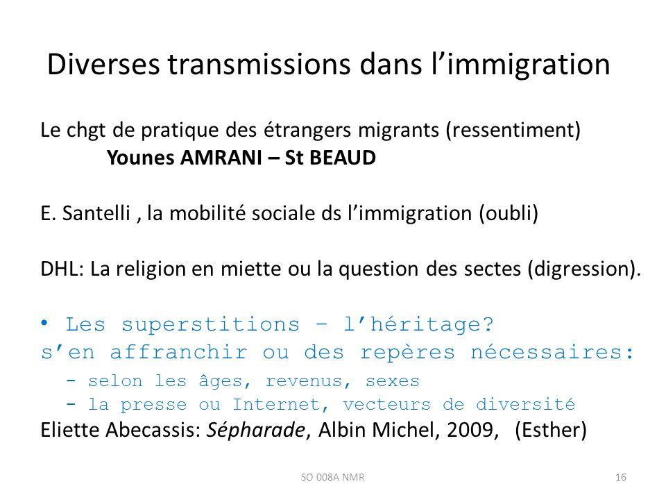Diverses transmissions dans limmigration Le chgt de pratique des étrangers migrants (ressentiment) Younes AMRANI – St BEAUD E. Santelli, la mobilité s