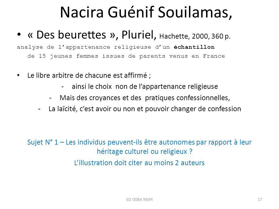 Nacira Guénif Souilamas, « Des beurettes », Pluriel, Hachette, 2000, 360 p. analyse de lappartenance religieuse dun échantillon de 15 jeunes femmes is