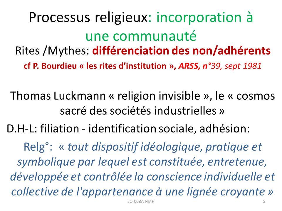Processus religieux: incorporation à une communauté Rites /Mythes: différenciation des non/adhérents cf P. Bourdieu « les rites dinstitution », ARSS,