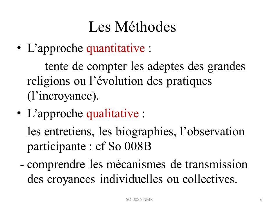 Les Méthodes Lapproche quantitative : tente de compter les adeptes des grandes religions ou lévolution des pratiques (lincroyance). Lapproche qualitat