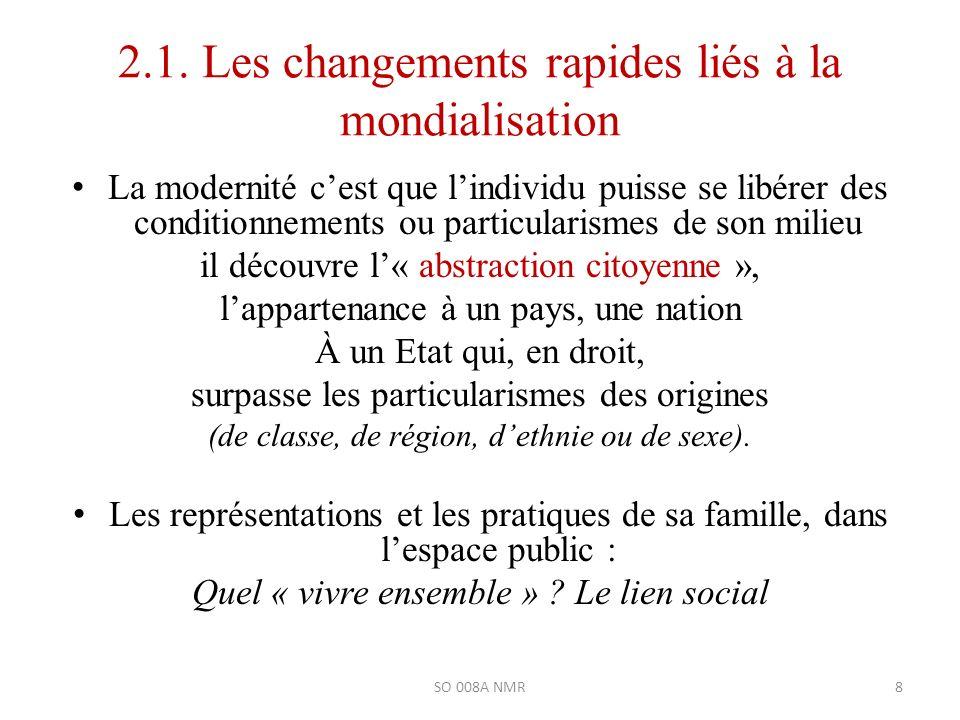 2.1. Les changements rapides liés à la mondialisation La modernité cest que lindividu puisse se libérer des conditionnements ou particularismes de son