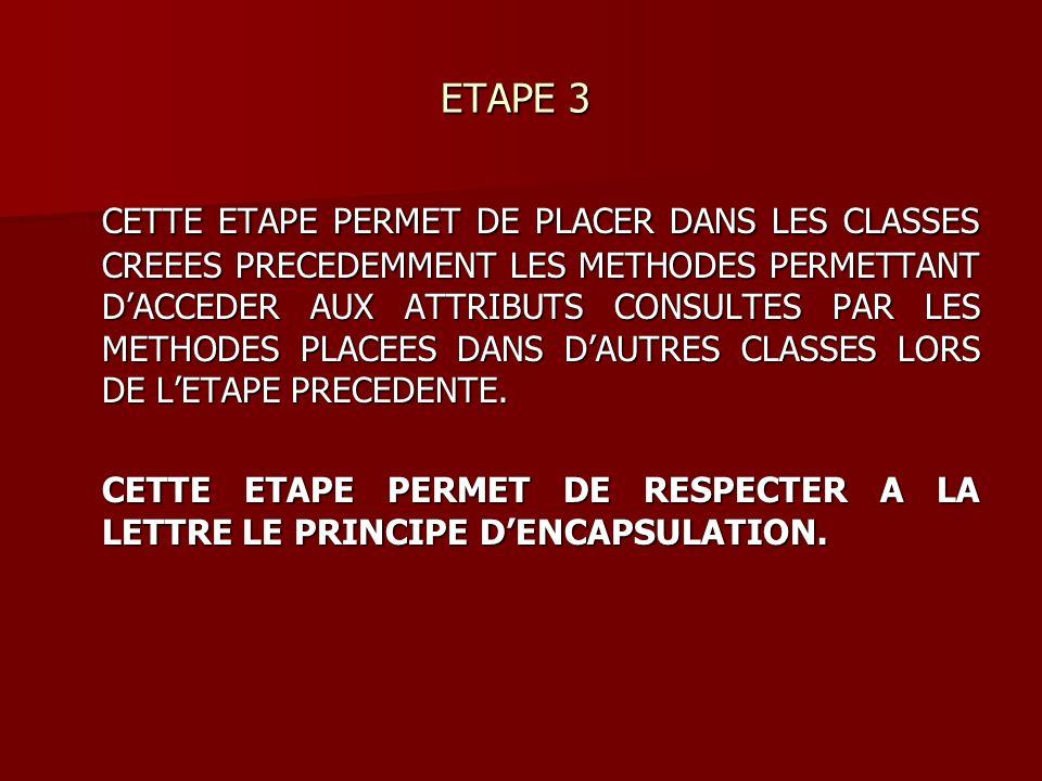 ETAPE 3 ETAPE 3 CETTE ETAPE PERMET DE PLACER DANS LES CLASSES CREEES PRECEDEMMENT LES METHODES PERMETTANT DACCEDER AUX ATTRIBUTS CONSULTES PAR LES METHODES PLACEES DANS DAUTRES CLASSES LORS DE LETAPE PRECEDENTE.