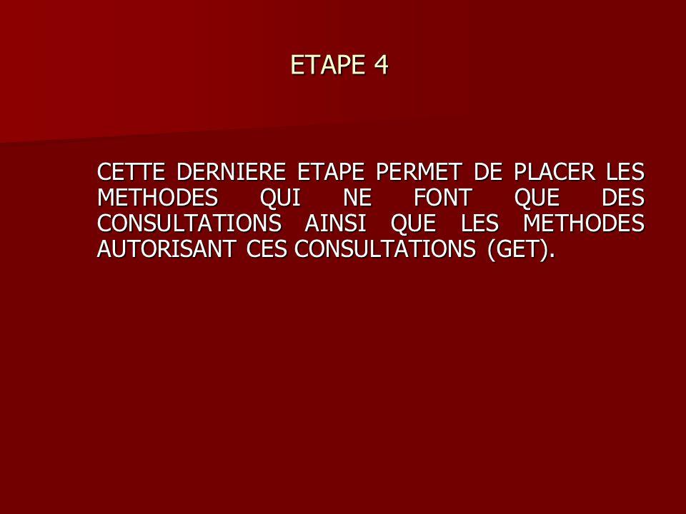 ETAPE 4 ETAPE 4 CETTE DERNIERE ETAPE PERMET DE PLACER LES METHODES QUI NE FONT QUE DES CONSULTATIONS AINSI QUE LES METHODES AUTORISANT CES CONSULTATIONS (GET).