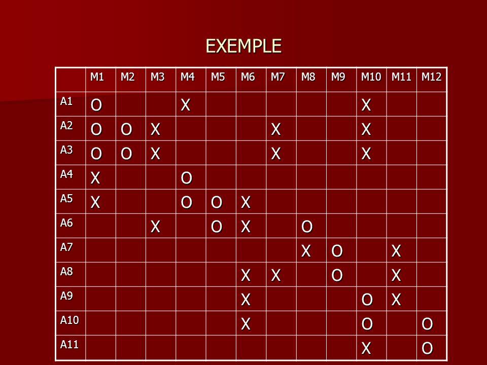 EXEMPLE M1M2M3M4M5M6M7M8M9M10M11M12 A1OXX A2OOXXX A3OOXXX A4XO A5XOOX A6XOXO A7XOX A8XXOX A9XOX A10XOO A11XO