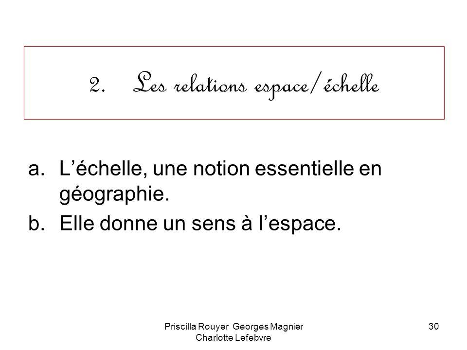 Priscilla Rouyer Georges Magnier Charlotte Lefebvre 30 2.Les relations espace/échelle a.Léchelle, une notion essentielle en géographie. b.Elle donne u