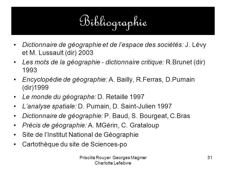 Priscilla Rouyer Georges Magnier Charlotte Lefebvre 31 Bibliographie Dictionnaire de géographie et de lespace des sociétés: J. Lévy et M. Lussault (di
