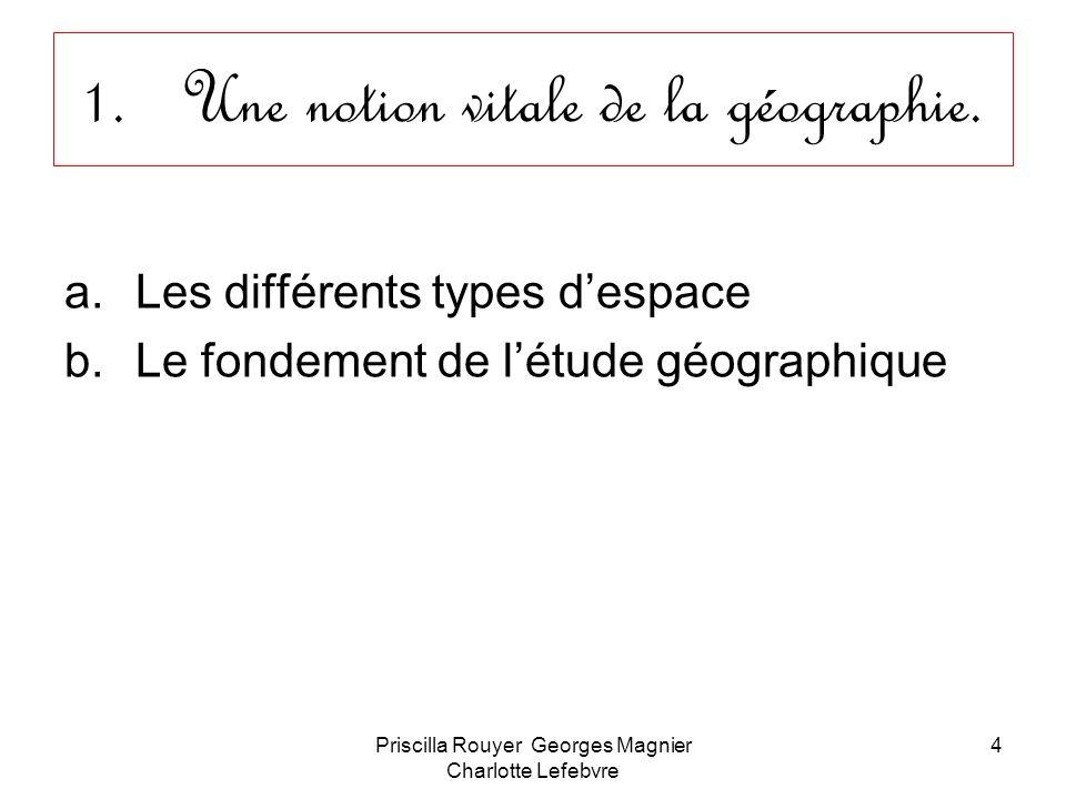 Priscilla Rouyer Georges Magnier Charlotte Lefebvre 4 1.Une notion vitale de la géographie. a.Les différents types despace b.Le fondement de létude gé