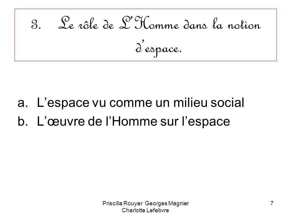 Priscilla Rouyer Georges Magnier Charlotte Lefebvre 7 3.Le rôle de LHomme dans la notion despace. a.Lespace vu comme un milieu social b.Lœuvre de lHom