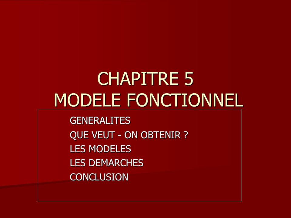 CHAPITRE 5 MODELE FONCTIONNEL GENERALITES QUE VEUT - ON OBTENIR .