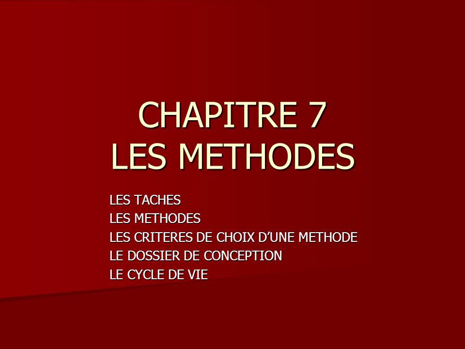 CHAPITRE 7 LES METHODES LES TACHES LES METHODES LES CRITERES DE CHOIX DUNE METHODE LE DOSSIER DE CONCEPTION LE CYCLE DE VIE