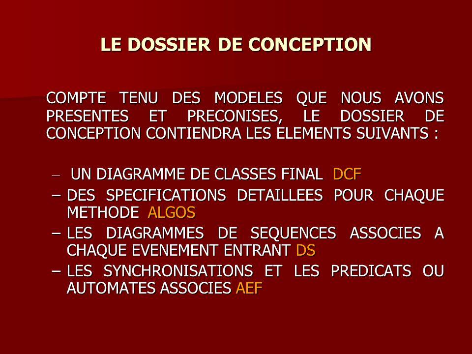 LE DOSSIER DE CONCEPTION COMPTE TENU DES MODELES QUE NOUS AVONS PRESENTES ET PRECONISES, LE DOSSIER DE CONCEPTION CONTIENDRA LES ELEMENTS SUIVANTS : COMPTE TENU DES MODELES QUE NOUS AVONS PRESENTES ET PRECONISES, LE DOSSIER DE CONCEPTION CONTIENDRA LES ELEMENTS SUIVANTS : – UN DIAGRAMME DE CLASSES FINAL DCF –DES SPECIFICATIONS DETAILLEES POUR CHAQUE METHODE ALGOS –LES DIAGRAMMES DE SEQUENCES ASSOCIES A CHAQUE EVENEMENT ENTRANT DS –LES SYNCHRONISATIONS ET LES PREDICATS OU AUTOMATES ASSOCIES AEF