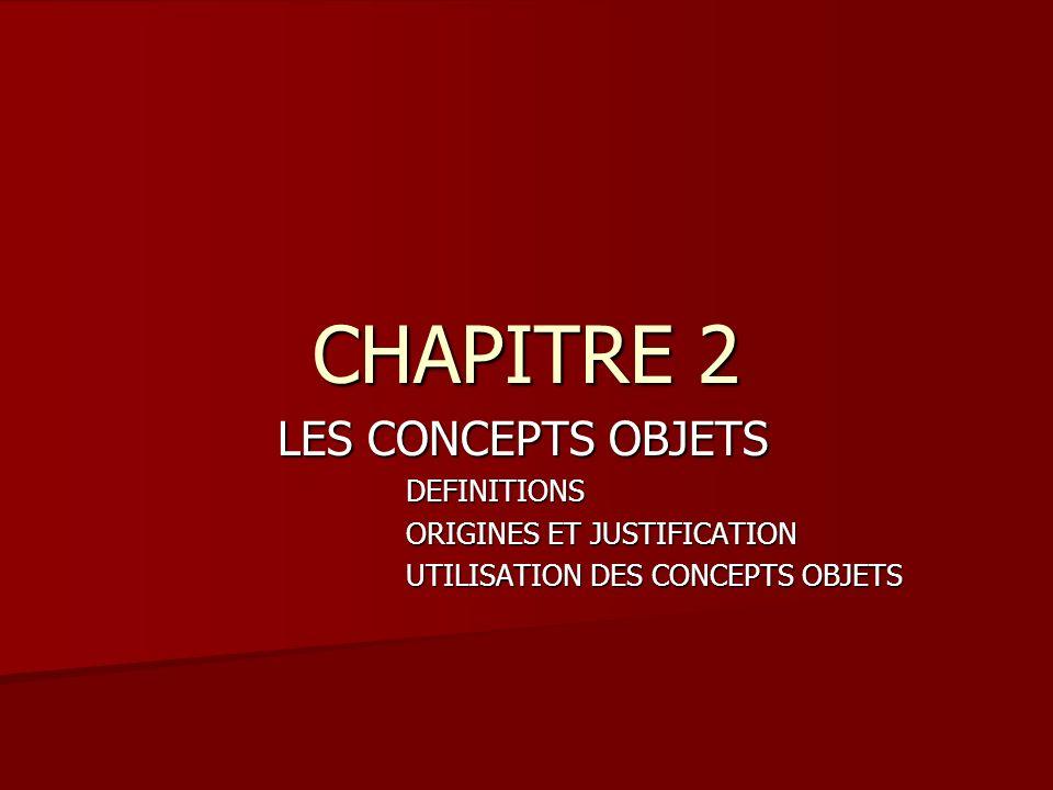 CHAPITRE 2 LES CONCEPTS OBJETS LES CONCEPTS OBJETSDEFINITIONS ORIGINES ET JUSTIFICATION UTILISATION DES CONCEPTS OBJETS
