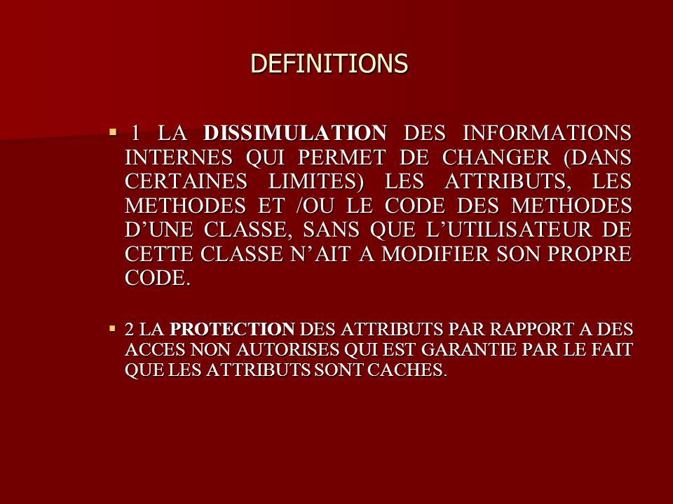 DEFINITIONS DEFINITIONS 1 LA DISSIMULATION DES INFORMATIONS INTERNES QUI PERMET DE CHANGER (DANS CERTAINES LIMITES) LES ATTRIBUTS, LES METHODES ET /OU