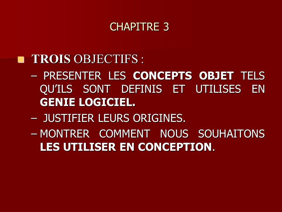 CHAPITRE 3 CHAPITRE 3 TROIS OBJECTIFS : TROIS OBJECTIFS : – PRESENTER LES CONCEPTS OBJET TELS QUILS SONT DEFINIS ET UTILISES EN GENIE LOGICIEL. – JUST