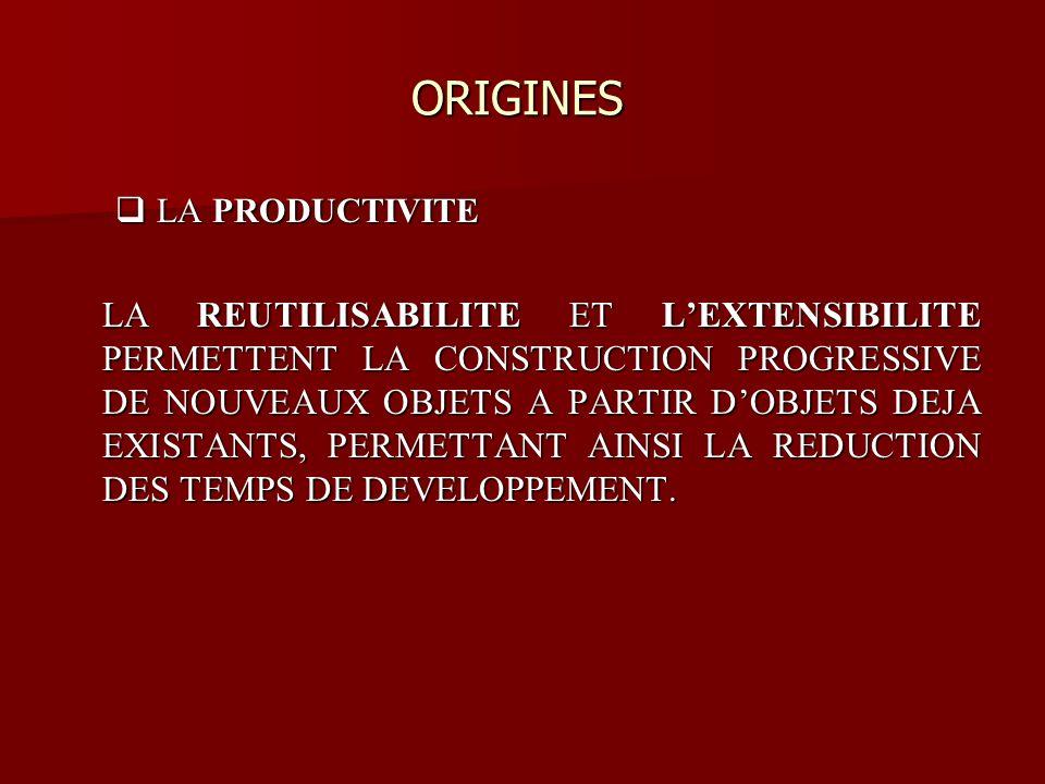 ORIGINES ORIGINES LA PRODUCTIVITE LA PRODUCTIVITE LA REUTILISABILITE ET LEXTENSIBILITE PERMETTENT LA CONSTRUCTION PROGRESSIVE DE NOUVEAUX OBJETS A PAR