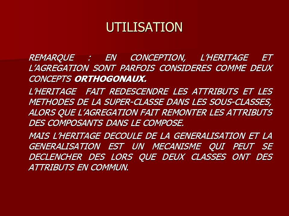 UTILISATION REMARQUE : EN CONCEPTION, LHERITAGE ET LAGREGATION SONT PARFOIS CONSIDERES COMME DEUX CONCEPTS ORTHOGONAUX. LHERITAGE FAIT REDESCENDRE LES