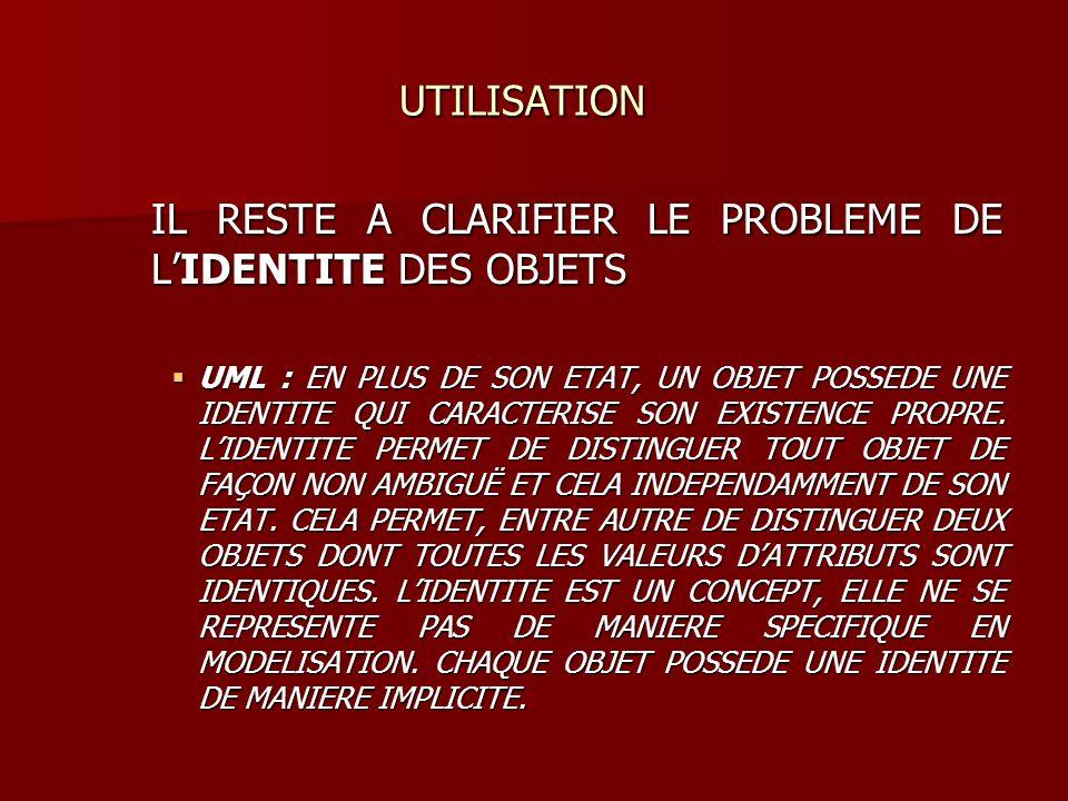 UTILISATION UTILISATION IL RESTE A CLARIFIER LE PROBLEME DE LIDENTITE DES OBJETS UML : EN PLUS DE SON ETAT, UN OBJET POSSEDE UNE IDENTITE QUI CARACTER