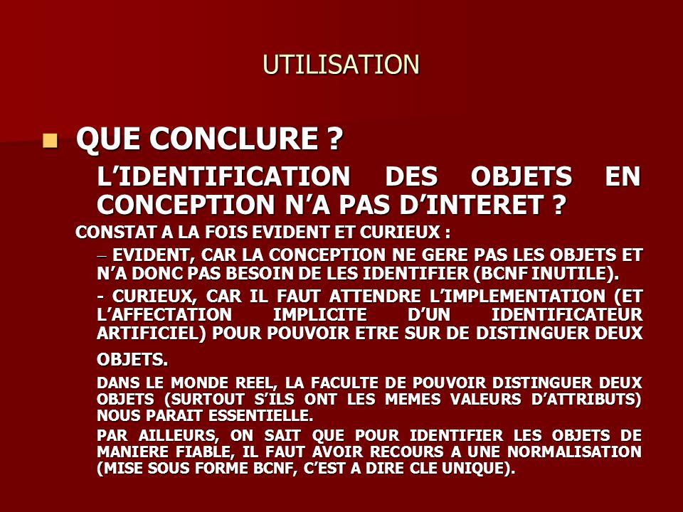 UTILISATION QUE CONCLURE ? QUE CONCLURE ? LIDENTIFICATION DES OBJETS EN CONCEPTION NA PAS DINTERET ? LIDENTIFICATION DES OBJETS EN CONCEPTION NA PAS D