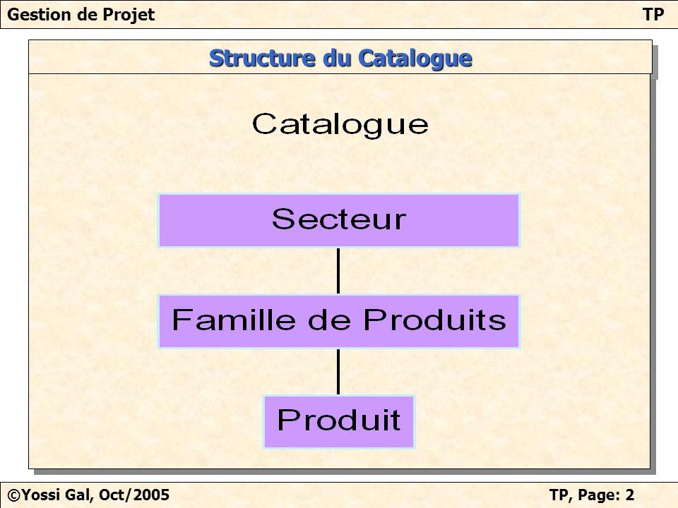 Gestion de ProjetTP ©Yossi Gal, Oct/2005TP, Page: 3 TP/Planning avec MS Project Base de travail: 1 projet de 6 mois, 3 à 4 personnes.