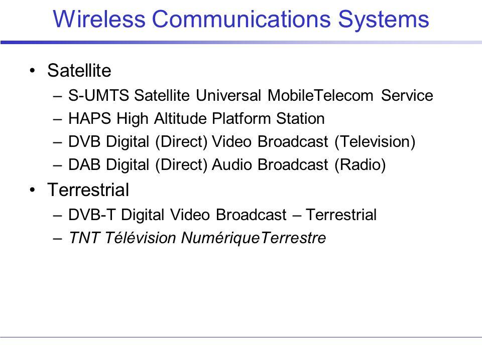 Wireless Communications Systems Satellite –S-UMTS Satellite Universal MobileTelecom Service –HAPS High Altitude Platform Station –DVB Digital (Direct)