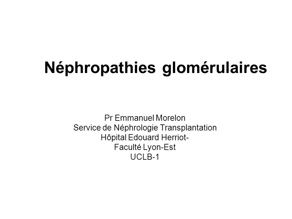 Néphropathies glomérulaires Pr Emmanuel Morelon Service de Néphrologie Transplantation Hôpital Edouard Herriot- Faculté Lyon-Est UCLB-1