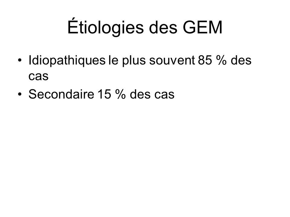 Étiologies des GEM Idiopathiques le plus souvent 85 % des cas Secondaire 15 % des cas