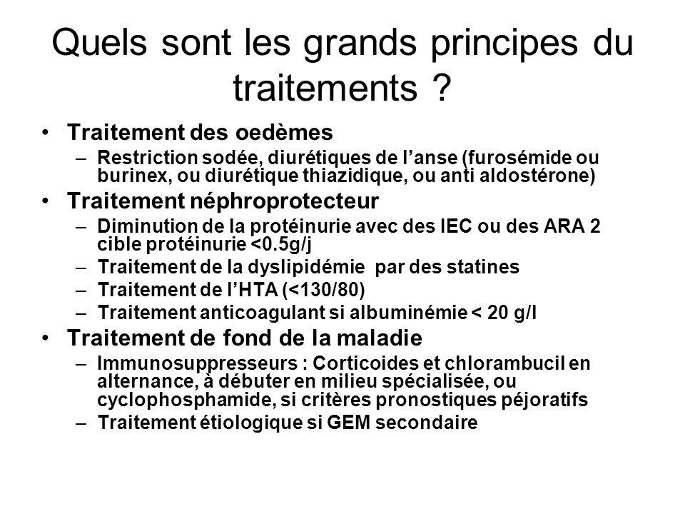 Quels sont les grands principes du traitements ? Traitement des oedèmes –Restriction sodée, diurétiques de lanse (furosémide ou burinex, ou diurétique