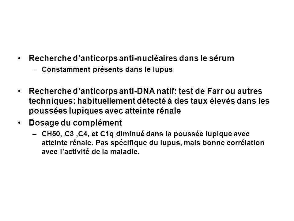 Recherche danticorps anti-nucléaires dans le sérum –Constamment présents dans le lupus Recherche danticorps anti-DNA natif: test de Farr ou autres tec