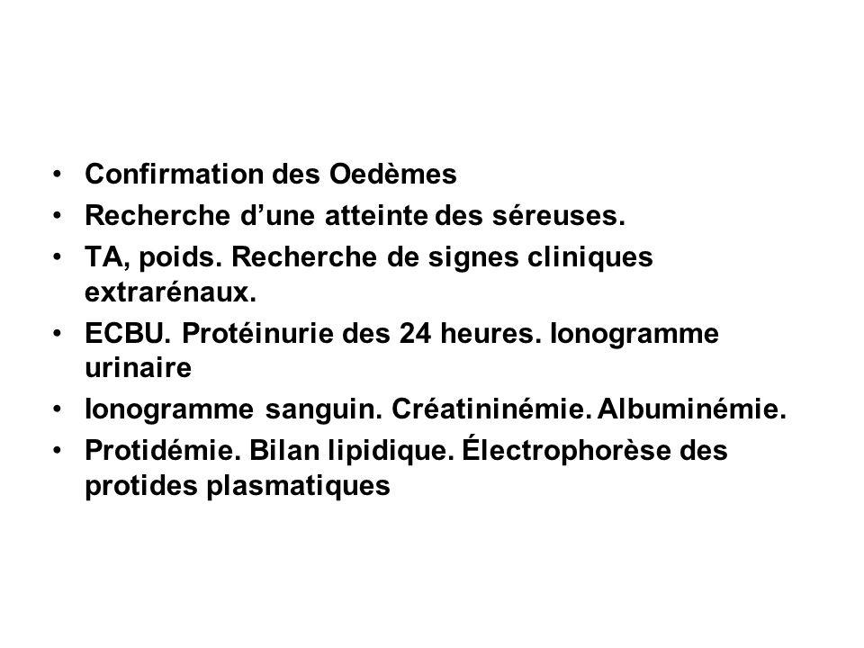 Confirmation des Oedèmes Recherche dune atteinte des séreuses. TA, poids. Recherche de signes cliniques extrarénaux. ECBU. Protéinurie des 24 heures.