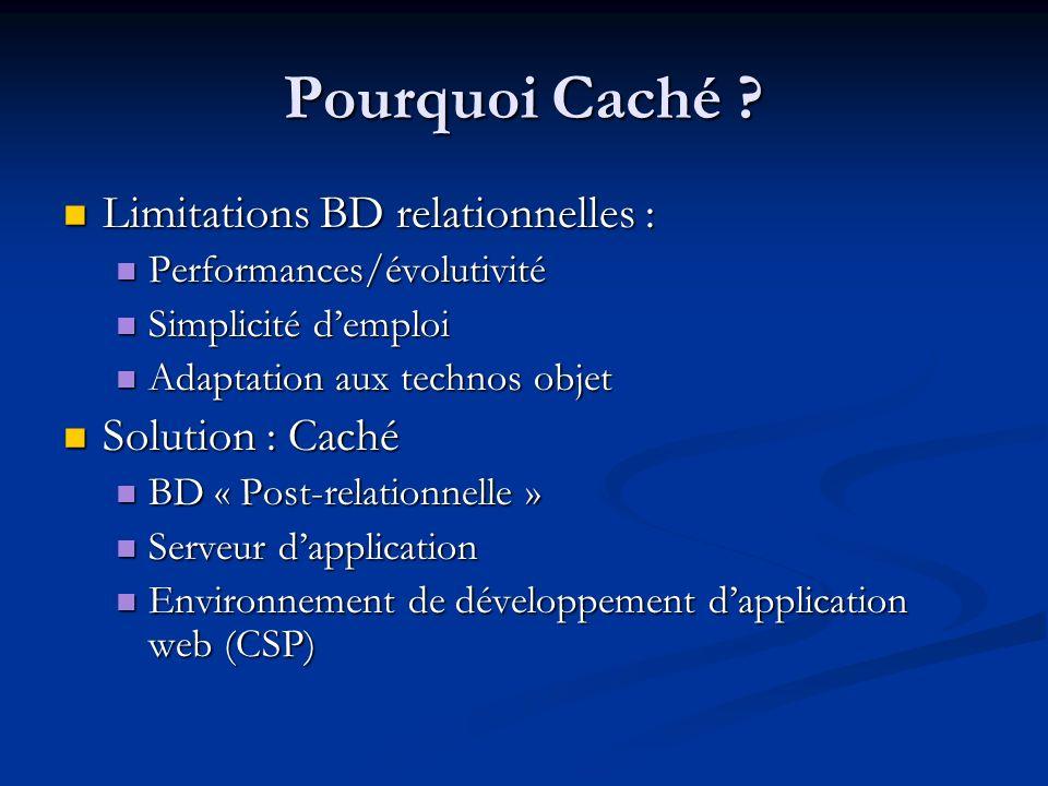 Pourquoi Caché ? Limitations BD relationnelles : Limitations BD relationnelles : Performances/évolutivité Performances/évolutivité Simplicité demploi