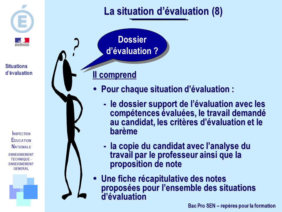 I NSPECTION E DUCATION N ATIONALE ENSEIGNEMENT TECHNIQUE - ENSEIGNEMENT GENERAL Situations dévaluation Dossier dévaluation ? La situation dévaluation