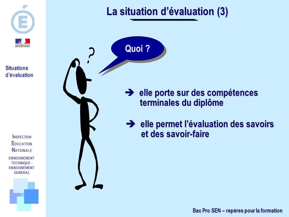 I NSPECTION E DUCATION N ATIONALE ENSEIGNEMENT TECHNIQUE - ENSEIGNEMENT GENERAL Situations dévaluation Quoi ? elle porte sur des compétences terminale