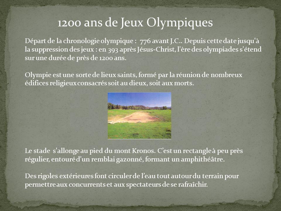 1200 ans de Jeux Olympiques Départ de la chronologie olympique : 776 avant J.C.. Depuis cette date jusqu'à la suppression des jeux : en 393 après Jésu