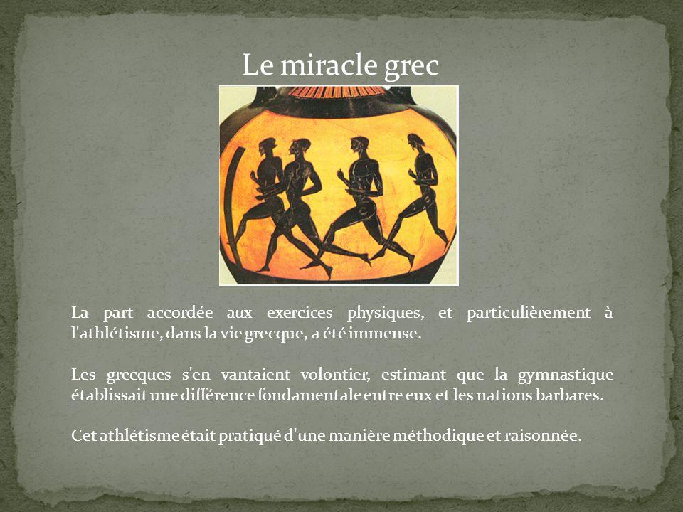La part accordée aux exercices physiques, et particulièrement à l'athlétisme, dans la vie grecque, a été immense. Les grecques s'en vantaient volontie
