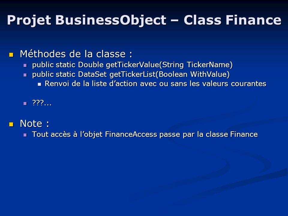 Projet BusinessObject – Class Portfolio Attributs de la classe : Attributs de la classe : private String CustomerName; private String CustomerName; private DataSet PortfolioDS; private DataSet PortfolioDS; private DataSet PortfolioDSChange; private DataSet PortfolioDSChange; private Double Credit; private Double Credit; private BankAccess BankAcc; private BankAccess BankAcc; Méthodes de la classe : Méthodes de la classe : public Int32 achat(String Ticker, Int32 Qty) public Int32 achat(String Ticker, Int32 Qty) public Int32 vente(String TickerName) public Int32 vente(String TickerName) public Double getCredit() public Double getCredit() public Int32 synchroniseDB() public Int32 synchroniseDB() public DataSet getPF(Int32 mode) public DataSet getPF(Int32 mode) 3 modes : 0=portefeuille avec les valeurs en temps réel ; 1=portefeuille tel quil est stocké à la banque ; 2=actions contenues dans le portefeuille 3 modes : 0=portefeuille avec les valeurs en temps réel ; 1=portefeuille tel quil est stocké à la banque ; 2=actions contenues dans le portefeuille
