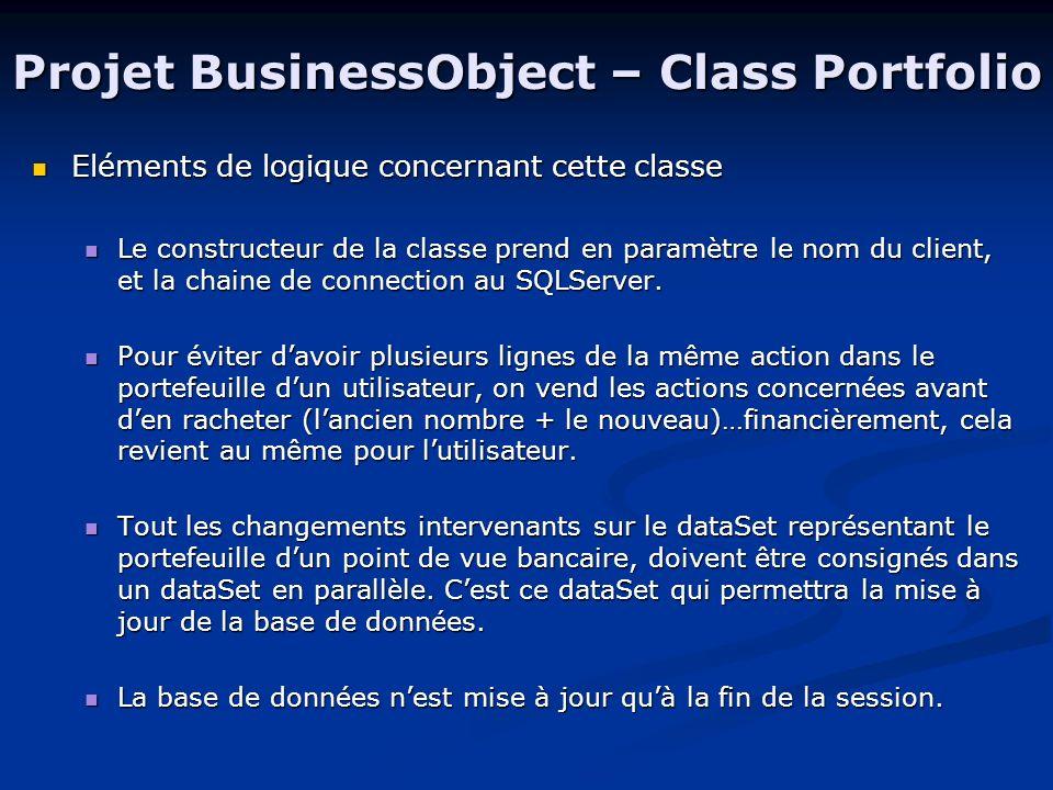 Projet BusinessObject – Class Portfolio Eléments de logique concernant cette classe Eléments de logique concernant cette classe Le constructeur de la classe prend en paramètre le nom du client, et la chaine de connection au SQLServer.