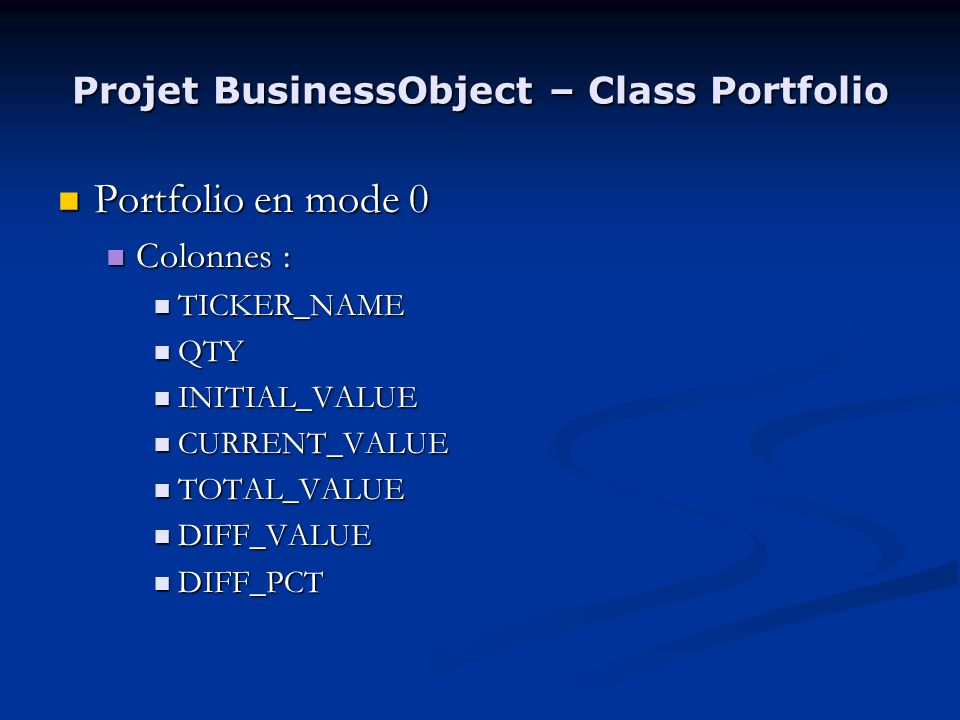 Projet BusinessObject – Class Portfolio Portfolio en mode 0 Portfolio en mode 0 Colonnes : Colonnes : TICKER_NAME TICKER_NAME QTY QTY INITIAL_VALUE INITIAL_VALUE CURRENT_VALUE CURRENT_VALUE TOTAL_VALUE TOTAL_VALUE DIFF_VALUE DIFF_VALUE DIFF_PCT DIFF_PCT