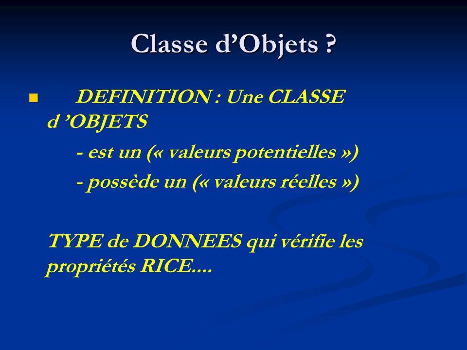 Classe dObjets ? DEFINITION : Une CLASSE d OBJETS - est un (« valeurs potentielles ») - possède un (« valeurs réelles ») TYPE de DONNEES qui vérifie l