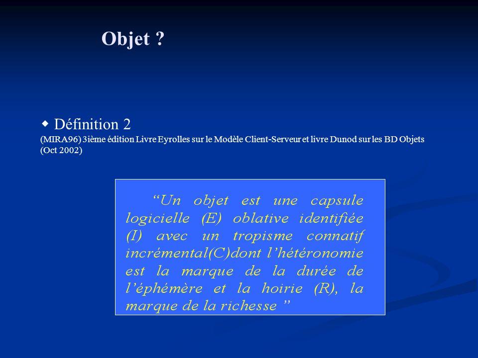 Objet ? Définition 2 (MIRA96) 3ième édition Livre Eyrolles sur le Modèle Client-Serveur et livre Dunod sur les BD Objets (Oct 2002)