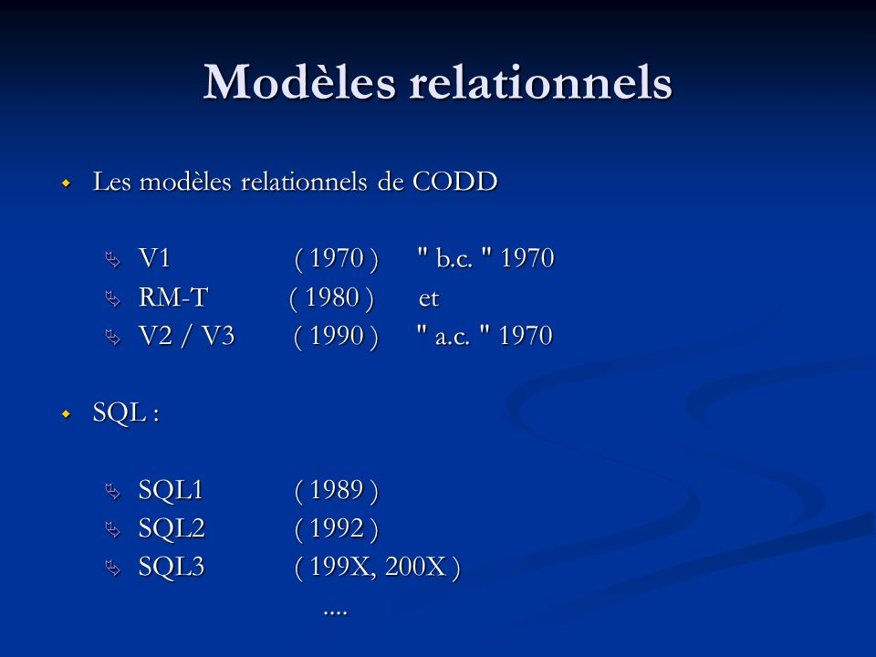 Modèles relationnels Les modèles relationnels de CODD Les modèles relationnels de CODD V1 ( 1970 )